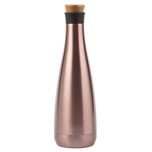 Manna Carafe 25 oz Metallic Double Walled Vacuum Insulated Stainless Steel w/Screw Top Lid - Holds 1 Bottle of Wine | Keeps Liquid Cold for 24 Hours & Hot for (Rose Wine Bottle)