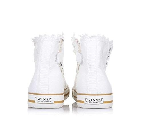 Twin Set Weißer Schuh mit Schnürsenkeln Aus Stoff, phantasievoll und Modisch, Seitlich ein Reißverschluss, Mädchen, Damen-28