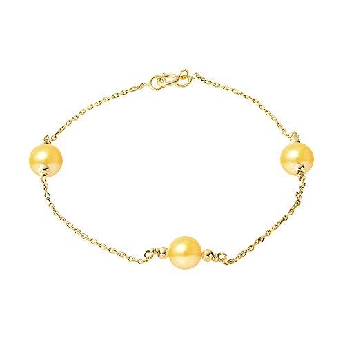 Pearls & Colors - Bracelet chaîne - Or jaune 9 cts - Perle d'eau douce - 18 cm - AM-9BFC 112 3R9-ARJ-GO