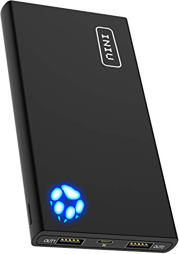 INIU Portable Charger, 10000mAh Power Bank, High-Speed 2 USB Ports with Flashlight Battery Pack, Ultra Compact Slim Phone Charger Compatible with iPhone XS X 8 7 6 Samsung Galaxy Note 9 S9 iPad Tablet ()
