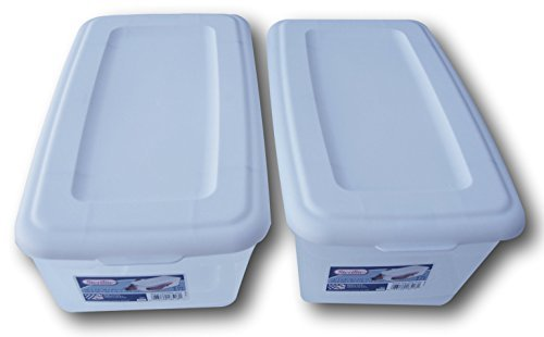 Sterilite 6 Quart Storage Bin Shoe Box - Clear and White - Pack of 2 by STERILITE