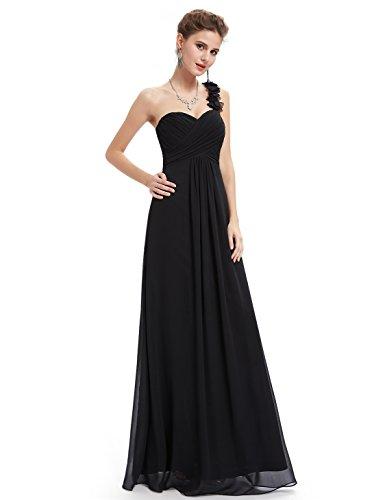 Mousseline 09768 En pretty Bretelle Une Noir Soirée Robe De Ever Fleurs Plissée R35A4Lj