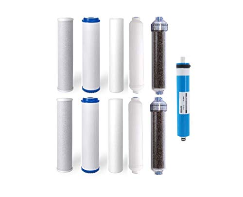 (Replacement RODI Aquarium Filters for Reverse Osmosis 6 Stage Systems (2 Sets, 1-75 GPD Membrane))