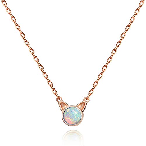 Meow Star Opal Necklace Sterling Silver Cat Pendant Necklace Cat Jewelry for Cat Lovers (White Opal - Rose Gold Plated)