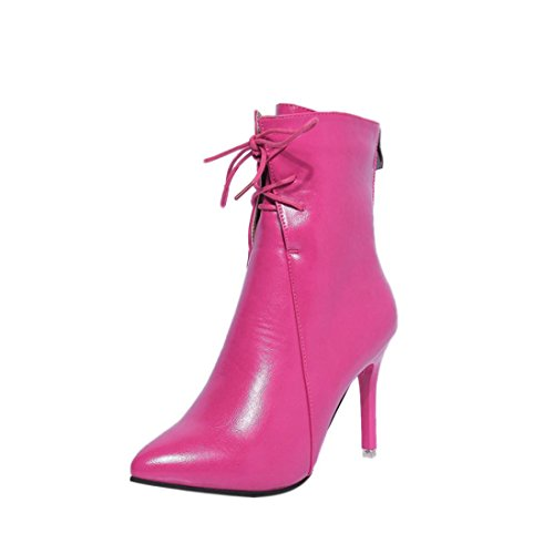 Sunbona Women's Sexy Leather Mid Calf Gladiator Pumps Boots Fashion Lace Up High Heel Wedding Party Shoes (US:6.5(RU/EU/CN38), Hot pink) by Sunbona