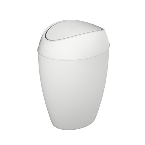 Swing Lid Wastebasket - Umbra Modern Metallic Trash Can with Flipping Lid, 9 L, Metallic White