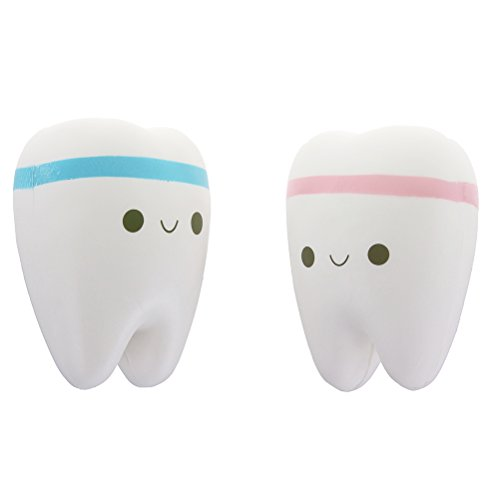 Eshylala 2 x Cute Teeth Squishy Toy Slow Rising Toy Stress Relief Super Soft Simulation Smiley Tooth Scented Kawaii Squishy Toys - (Blue,Pink)