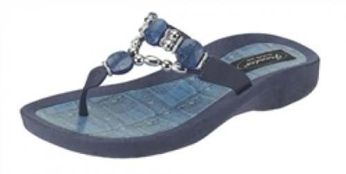 Grandco Denim Beaded Womens Thong Flip Flop Sandal Blue 8