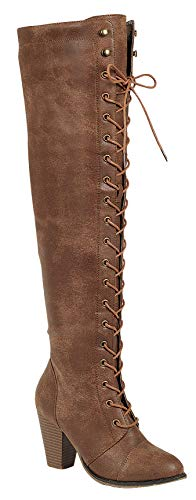 Forever Women's Knee-High Lace-Up Boot Tan-15 7.5