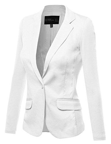 FPT Womens Basic Single Button Boyfriend Blazer WHITE MEDIUM