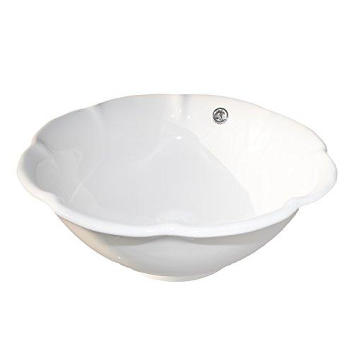 NEG Waschbecken Uno54A (rund) Aufsatz-Waschschale/Waschtisch (weiß) mit gewelltem Rand und Nano-Beschichtung