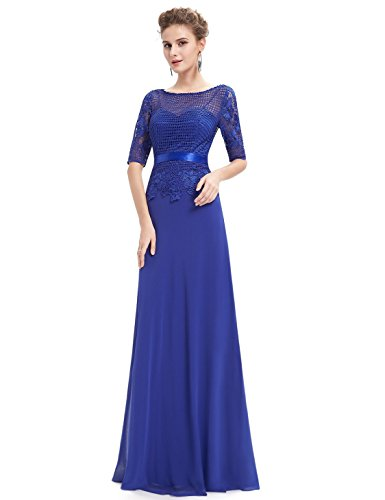 Mesh Pretty Ever Damen Saphirblau Abendkleid Elegant Kurzärmel Kurz Rundhals 08706 Lang UIqCdxrq
