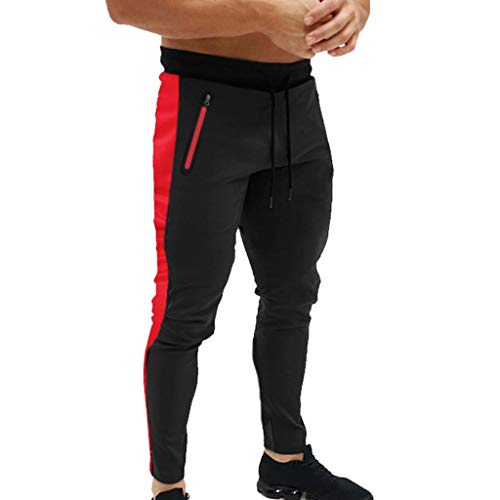Men's Gym Jogger Pants Slim Fit Workout Running Sweatpants with Zipper Pockets Drawstring Tapered Chino Trousers Black (Clothes 05 Gypsy)