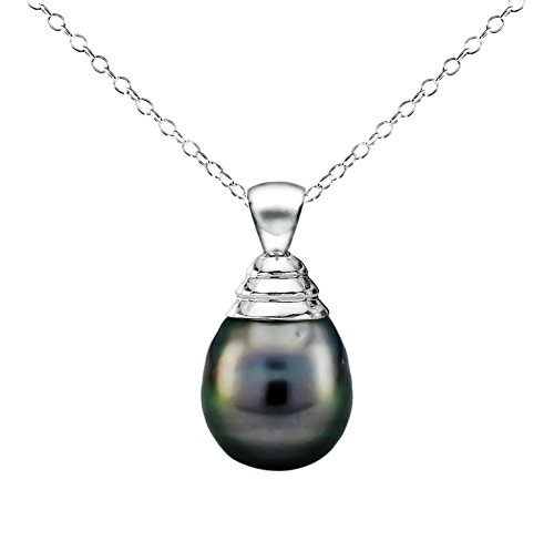 Sterling Silver 10 10.5mm Black Off Shape Tahitian Cultured Pearl Pendant and Lever back Earrings, 18""