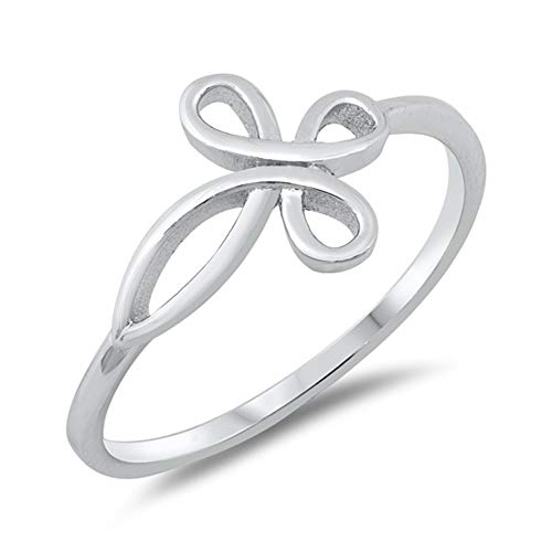 Sterling Silver Filigree Cross Ring - Infinity Love Knot Cross Filigree Ring New .925 Sterling Silver Band Size 10