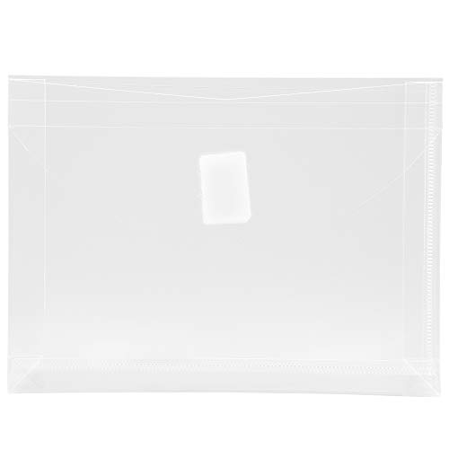 JAM PAPER Plastic Expansion Envelopes with Hook & Loop Closure - Index Size - 5 1/2 x 7 1/2 with 1 Inch Expansion - Clear - 12/Pack