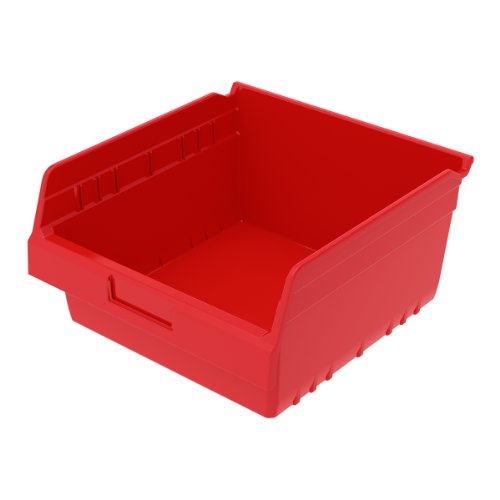 Akro-Mils 30010RED ShelfMax Plastic Nesting Shelf Bin Box, 11-5/8-Inch L x 11-1/8-Inch W x 6-Inch H,  Red,  8-Pack