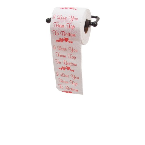 """What could be funnier than you switching out the TP, so he or she is greeted with """"I love you from top to bottom""""? Our most popular Valentine's Day TP!"""