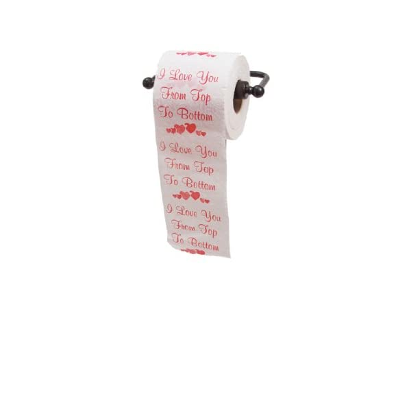 I Love you From Top to Bottom Printed Toilet Paper Gag Gift, Funny Novelty Valentine's Day or Anniversary Present for Him or Her