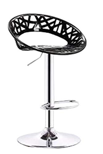 Bar Stool with Footrest, Bar Stools Set with Backrest, Adjustable Swivel Gas Lift, Chrome Footrest and Base for Breakfast Bar, Counter, Kitchen and Home Bar stools-Black-S