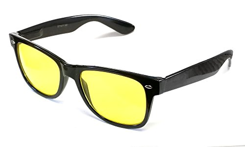Calabria 1417 Night Driving Wayfarer Sunglasses in Gloss Black & Yellow - Tint Sunglass Driving For