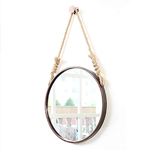 Round Hanging Mirror with Hanging Hemp Rope|Wall Mounted Bathroom Vanity Mirror| Circle Cosmetic Mirror| Wrought Iron Nordic Decorative Mirror ()