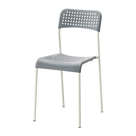 Sedie Plastica Trasparente Ikea.Ikea Adde Sedia Grigio Bianco Amazon It Casa E Cucina