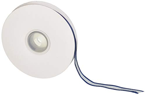 "Homeford FCR000SES0308370 Satin-Edge Sheer Organza Ribbon, 3/8"", Navy Blue"
