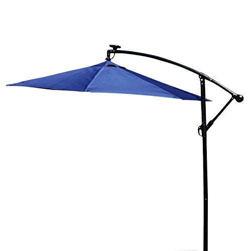 (Peach Tree Sunbrella 9FT LED Lighted Patio Umbrella Solar Powered Hanging Outdoor Market Table Octagon Parasol with Push Button Tilt Crank Lift Mechanism,Blue)