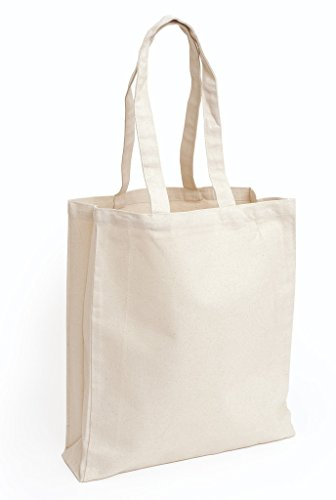 (Promotional Priced Durable Cotton Canvas Book Bag W/Gusset Art Craft Blank Tote Bag)