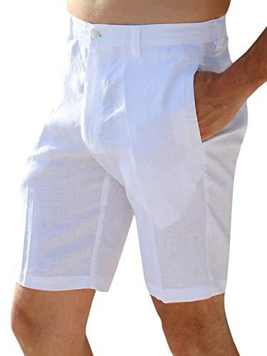 Fête Pour Décontracté Vêtements Unie Blanc Droit Ajustée Couleur Commercial Homme D'été Nener Hommes Basic Coupe Short Lin En Pantalon De nPwYq0zq