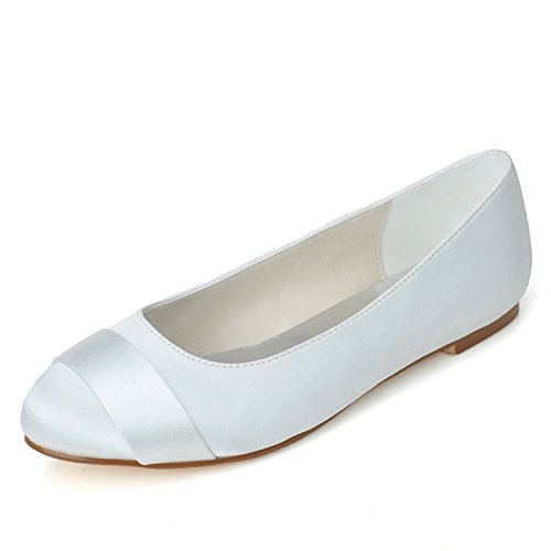Sarahbridal Women's Satin Round Toe Wedding Bridal Court Shoes Bridesmaid Flat Shoes SZXF9872-17 White Mq9Cucq4C