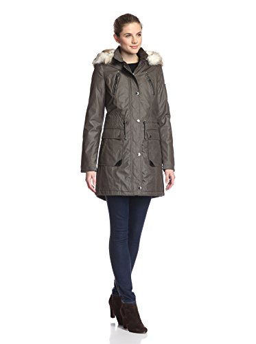 Laundry Women's Waxed Cotton Parka with Faux-Fur Hood, Smokestone, Small