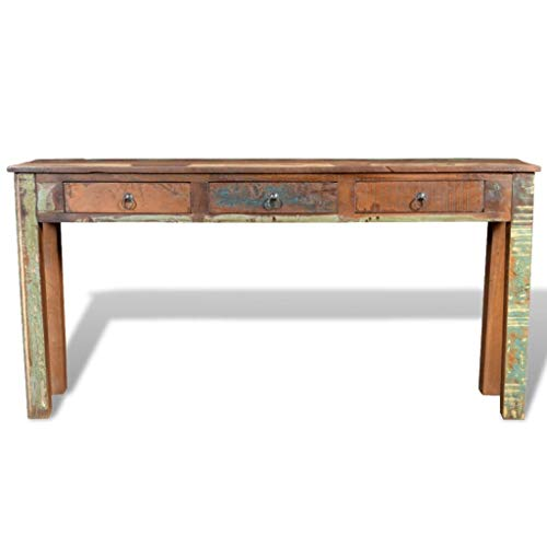 "Festnight Rustic Console Table with 3 Storage Drawers Reclaimed Wood Sideboard Handmade Entryway Living Room Home Furniture 60"" x 12"" x 30""�(L x W x H)"