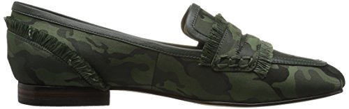 The Fix Womens Daphne Satin Frangia Mocassino Piatto Autunno Verde Camo Satin