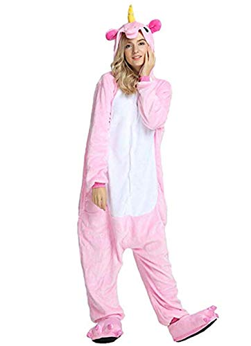 Women's Sleepwear Adult Unicorn Onesie Onepiece Pajamas Kids Halloween Animal Outfit Christmas (Adult#XL fit for Height 70-74