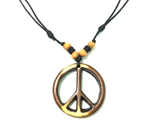 (Nove Jewelry Leather Peace Sign Necklace - Peace Symbol Necklace - Resin Peace Sign Pendant - Adjustable Black Cord (Brown))