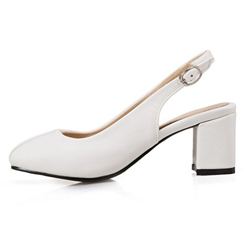 TAOFFEN Women Elegant Mid Heel Slingback Sandals Closed Toe Office Shoes White 8ITZKX6h