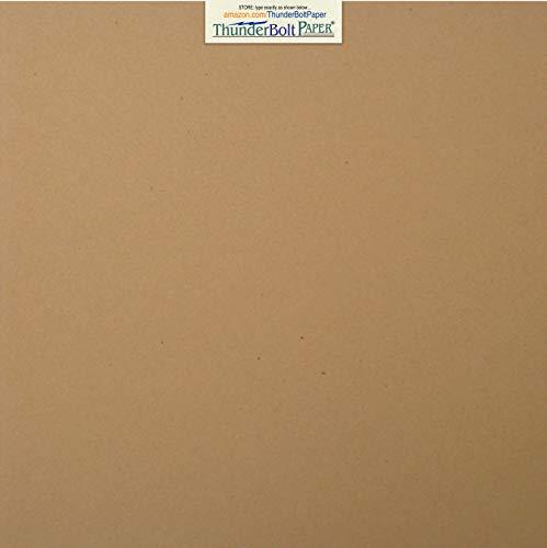 25 Brown Kraft Fiber 80# Cover Paper Sheets - 12