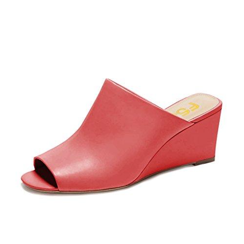 Fsj Donne Sexy Sandali Con Zeppa Peep Toe Stile Slip On Slip On Shoes Per Taglia Casual 4-15 Us Rosso