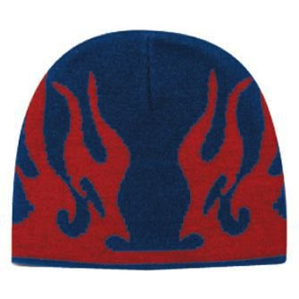 OTTO Wholesale 12 x Flame Design Acrylic Knit 8 Inch. Beanie - NVY/Red - (12 Pcs)