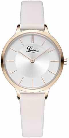 d6cc10d9b LAIMAI Women Fashion Simple Watch Ultra-Thin Retro Quartz Analog Leather  Strap Ladies Wristwatch (