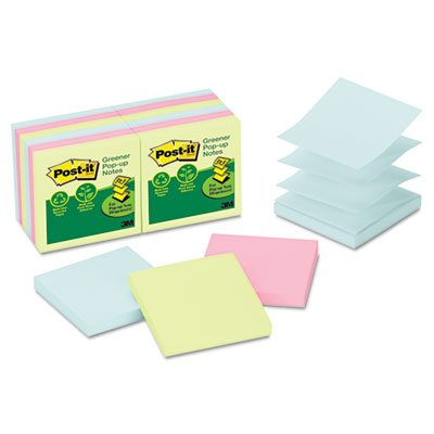 Post-it Greener Notes Recycled Pop-Up Notes Refill, 3 x 3, Sunwashed Pier, 100 Sheets/Pad, 12 (Refill Notes 100 Sheet)