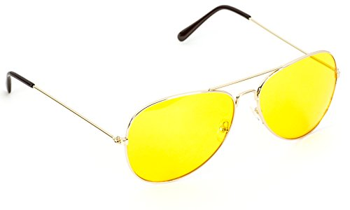Classic Aviator Style Metal Frame Sunglasses Colored Lens Gold Frame / Yellow Tint
