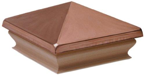 Woodway Copper Pyramid 4x4 Post Cap - Premium Mahogany Wood Base Post Cap, Newel Post Top 4 x 4, Fits Up to 3.5 x 3.5 Inch Post, 1PC ()