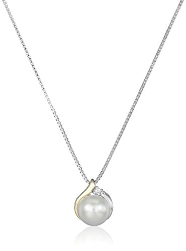 Sterling Silver and 14k Yellow Gold Freshwater Cultured Pearl Diamond Accent Pendant Necklace (8mm), 18