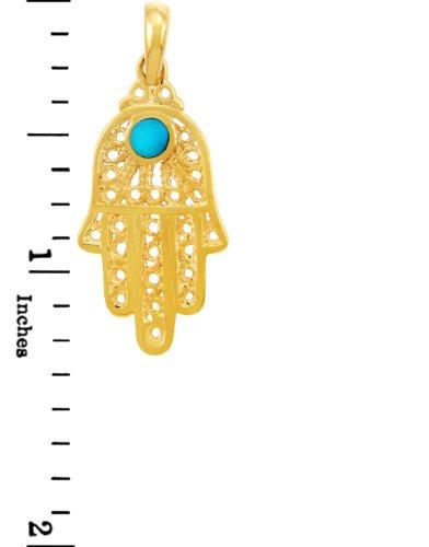 10 ct 471/1000 Charme Juive - Or Jaune Turquoise Filigree Hamsa Pendentif