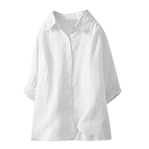 Weiliru Women's Sexy Solid Color Shirt Lapel Mid-Neck Button Tops T-Shirt White