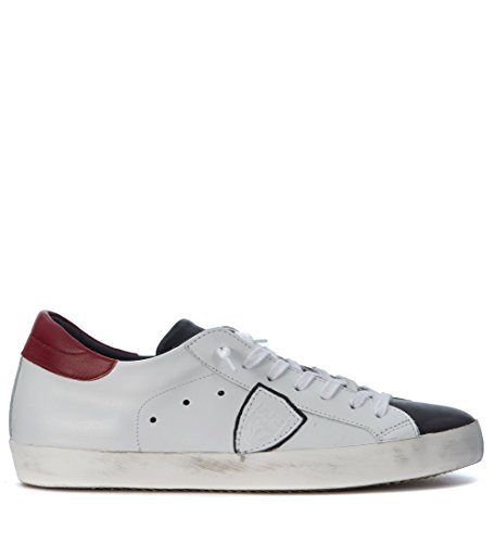 Sneakers Philippe Model Classic en piel blanca y negra Blanco