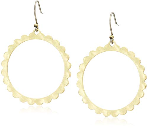 (Lucky Brand Women's Scalloped Edge Front Facing Drop Earrings, Gold, One)